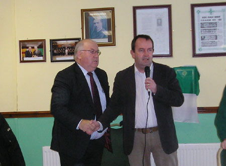 Compere, Donegal Democrat editor Michael Daly, welcomes Padraig McGarrigle to proceedings.