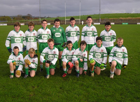 Sylvester Maguire's side which contested the Bakery Cup final last Sunday. Back row (l-r), Daniel McIntyre, David McGurrin, P.J. Gillespie, Conor McNeely, Ciaran Keown, Sylvester Maguire, Charlie Patton. Front row, Jack Dolan, Paddy Gillespie, Tommy Gillespie, Ciaran Rami, Matthew Maguire, Fergal Meehan, Ryan Gillen.