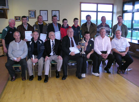 Winning captains from fifty years of the Bakery Cup. Back Row Chairman of Aodh Ruadh Bord na n�g, Jim Kane, Anthony Sheerin, Paul Touhy, Jim Sheerin, Francis McShea, Alan Finan, Frank Cleary, Pauric Daly, Michael 'Sticky' Ward. Front Row, Ciaran McGinley, Louis Boyle, Michael McLoone, Padraig McGarrigle, Ronan McGurrin, Pauric McShea, Thomas Quinn.
