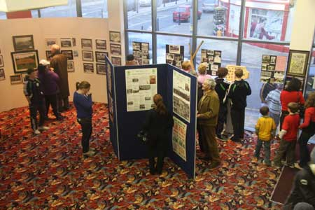 Taking in the display of Aodh Ruadh history in the foyer of the Abbey Centre.