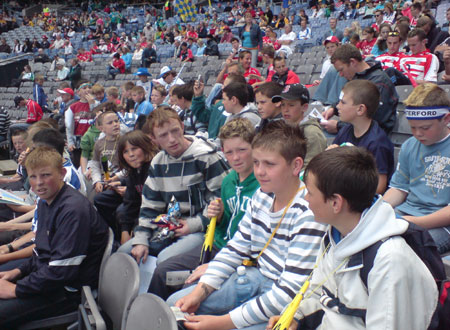 Pictured enjoying the action at the underage hurlers trip to the hurling quarter finals in Croke Park: (l-r) Niall Cullen, Oisin Roper, Peter Horan (mentor), Conor Gilmartin, Patrick Fogerty and James Kelly.