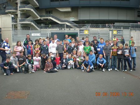Underage group of hurlers going into Croke Park All-Ireland semi-final Kilkenny v Waterford.