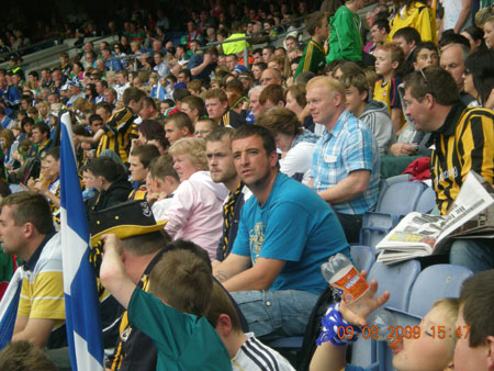 Michael Ayres and Kevin McDermott, under 10 managers deep in thought at Croke Park.