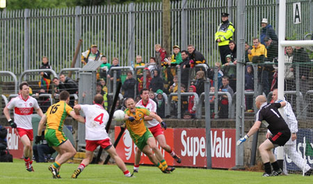 Action from the Ulster Senior Football Championship match between Donegal and Derry.