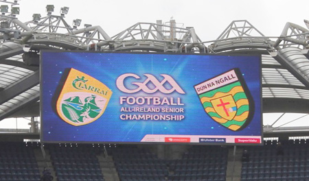 Action from the All-Ireland Senior Football Championship quarter-final between Donegal and Kerry.