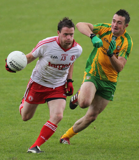 Action from the Ulster Senior Football Championship semi-final between Donegal and Tyrone.