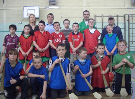 The Ulster President, Tom Daly, who visited the players during the Aodh Ruadh Hurl-A-Thon.