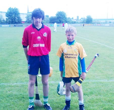Oisín Rooney and Stephen Anderson took part in the INTO exhibition game at half time in the senior game between Donegal and Down.