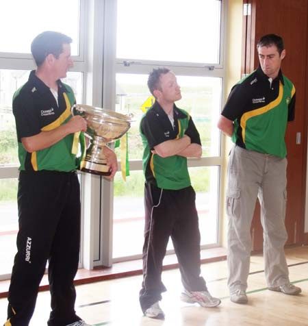 Paul Sheridan, Peter Horan and Aidan Begley speak to the students in Creevy National School