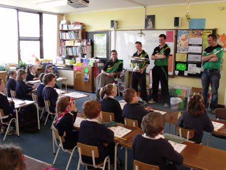 Peter Horan speaks to the children in Little Angels National School.