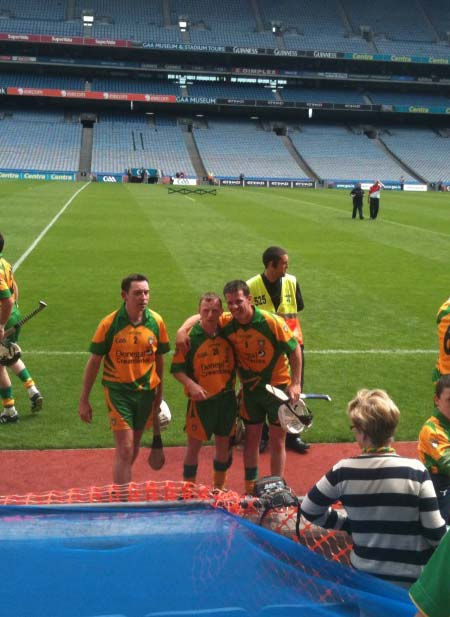 Peter Horan and Paul Sheridan celebrate after winning their historic Lory Meagher cup win.