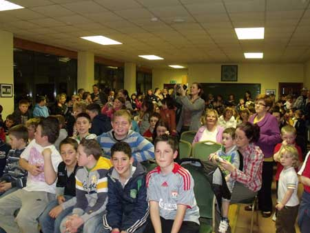 A packed Arás Aodh Ruaidh enjoying underage hurling presentation night.