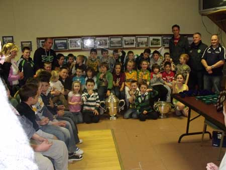 Under 8 hurling squad with managers Dennis Daly, Chris Kelly, Eddie Lynch, chairman Terence McShea and Michael Fennelly.