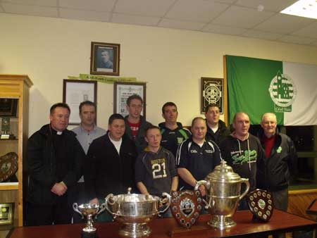 Father McManus, John Rooney, Michael Fennelly, Michael Ayres, Chris Kelly, Peter Horan, Eddie Lynch, Dennis Daly and Pat Melaniff at the Aodh Ruadh underage hurling presentation.
