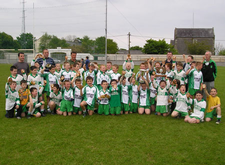 The 'A' and 'B' teams of Aodh Ruadh celebrate after victories in their respective finals of the Michael Shannon under 10 tournament in Ballyshannon last Saturday.