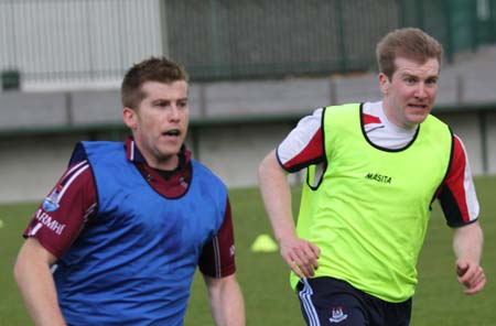 Aodh Ruadh's adult footballers hard at it.