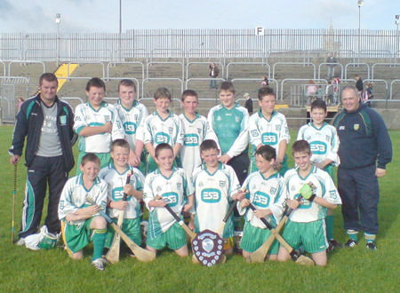 Aodh Ruadh under 14s, winners of the county 'B' title with manager Kevin Loughlin and Eddie Lynch, mentor.