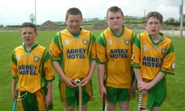 Aodh Ruadh players who play on the Donegal under 14 hurling team: Conor McNeely, Rory Cullen, PJ Gillespie and Gary Kelly.