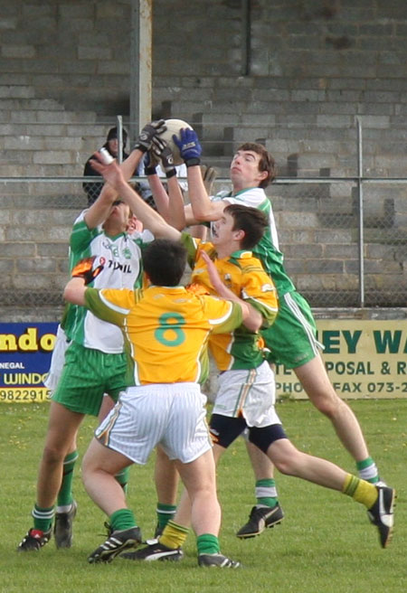 Action from the Aodh Ruadh v Naomh Columba minor game.